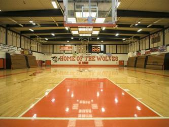 gym with sign: Home of the Wolves