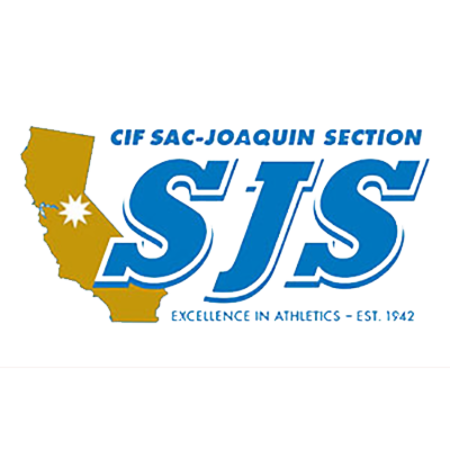 cif sac-joaquin section logo, california outline and SJS font, excellence in athletics- est. 1942