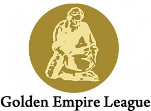 golden empire league logo, gold icon of man panning for gold